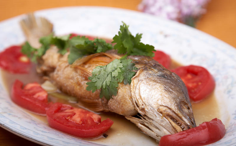 Delicious fish dish. With tomatos royalty free stock image