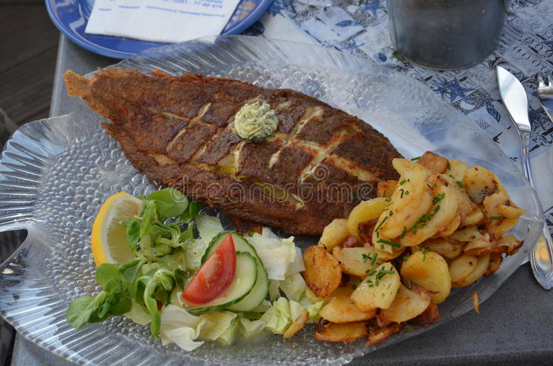 A delicious fish dish from greece. Greece from a delicious fish dish, fish's best friends from next curly lemon tomatoes and potatoes stock photography