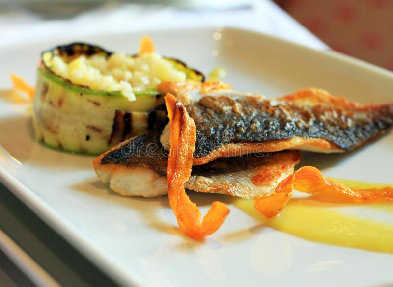 Delicious fish plate. Delicious food plate with fish and rice stock photos
