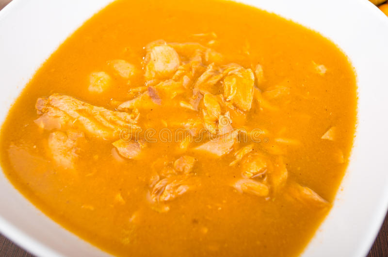 Delicious fish soup made with yuca and peanut stock image