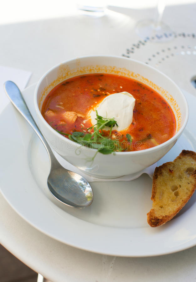 Delicious fish soup with salmon. Delicious fish soup with fresh salmon stock photo