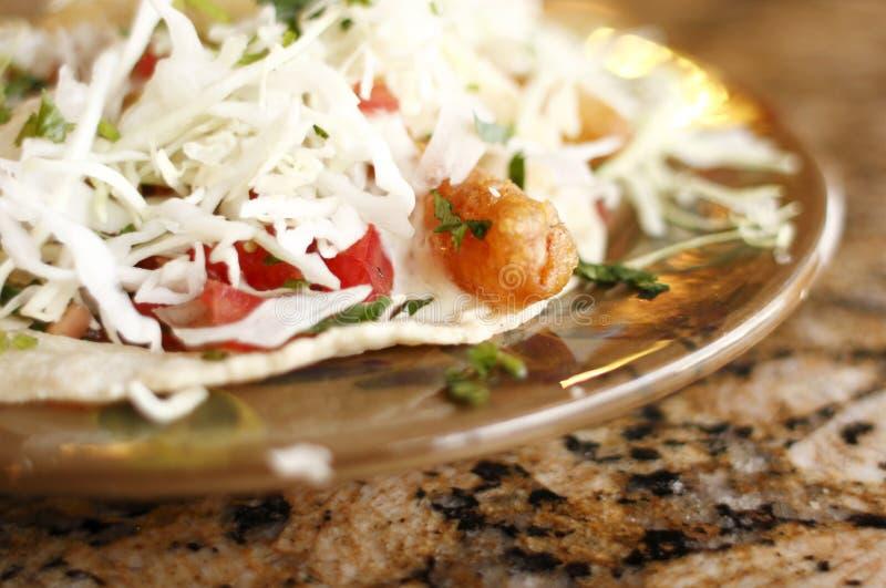 Delicious fish tacos. At a restaurant royalty free stock photos