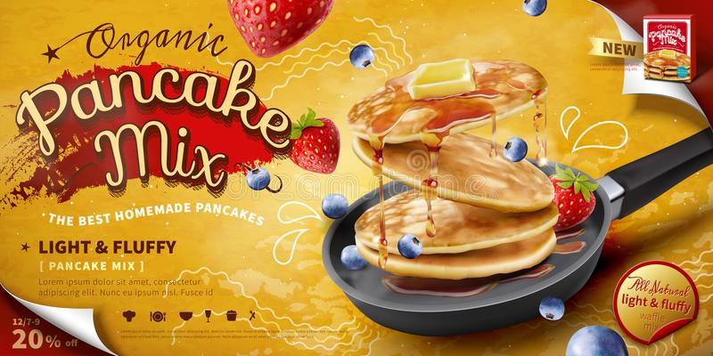 Delicious fluffy pancake ad. Delicious fluffy pancake in frying pan, fresh fruit and honey toppings in 3d illustration, food ad banner or poster stock illustration