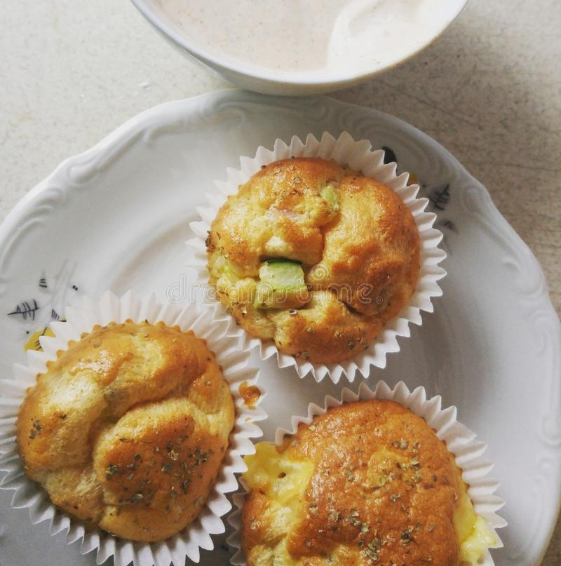homemade muffins with sauce stock photography