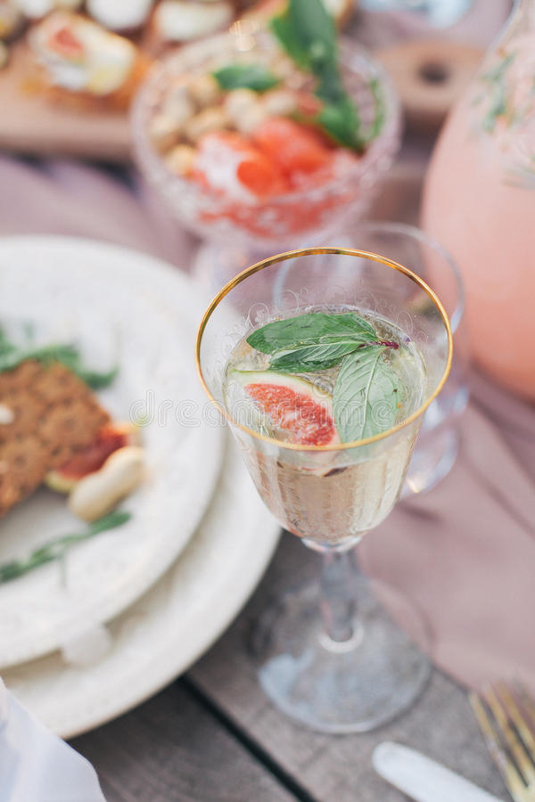 Delicious food and drink royalty free stock photo