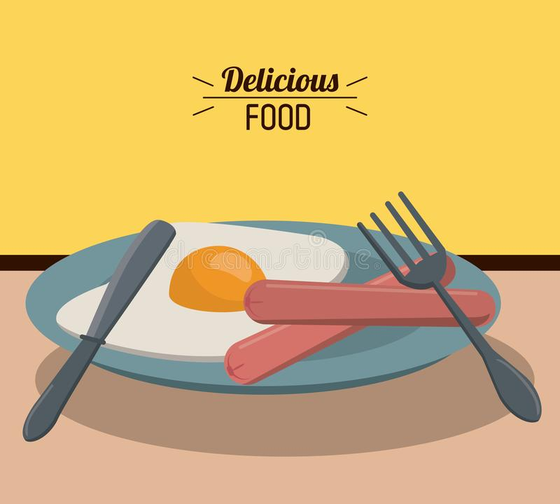 Delicious food fried egg sausage and fork knife dish stock illustration