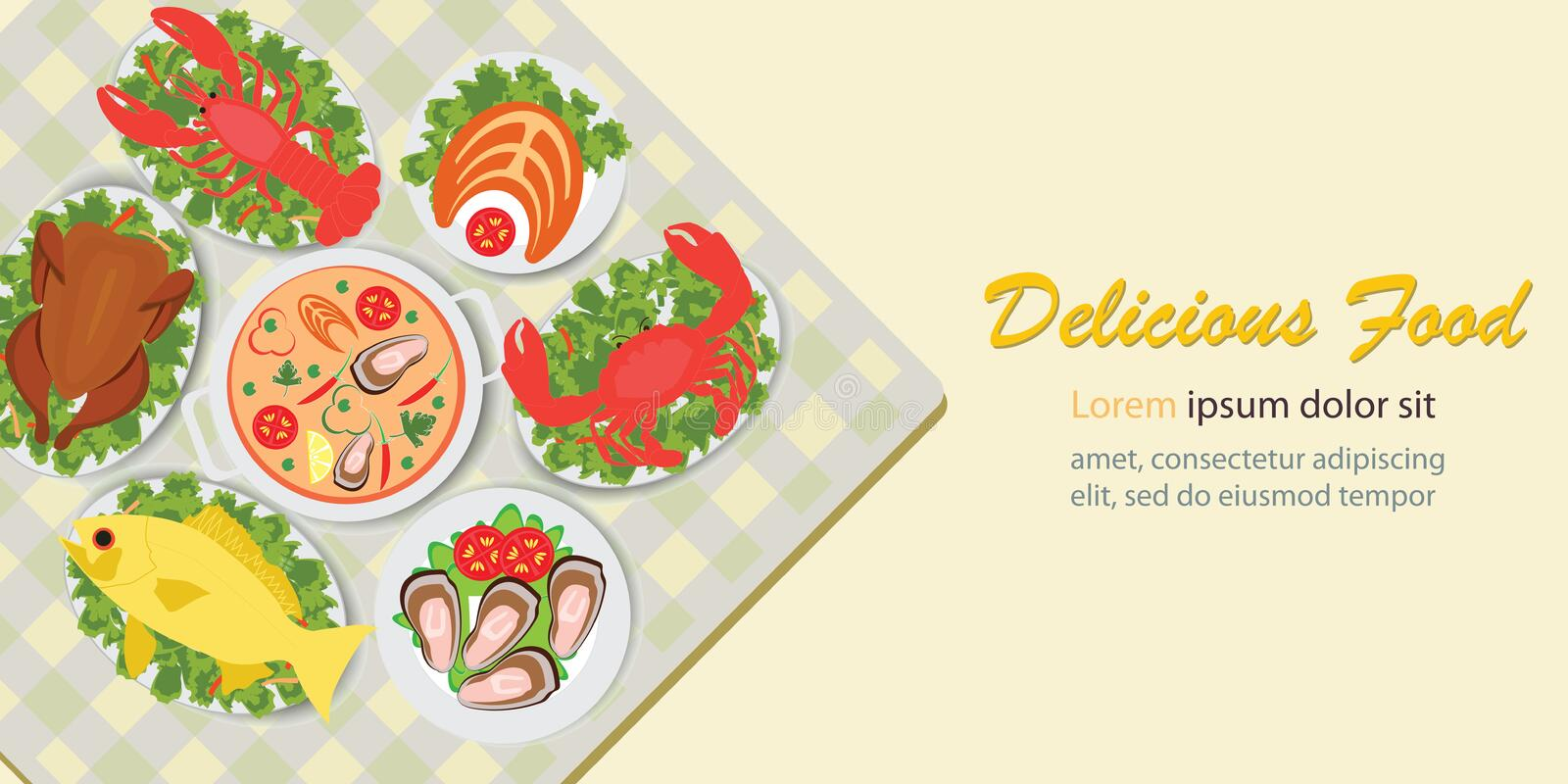 Delicious food lunch menu with chicken salad and seafood royalty free illustration