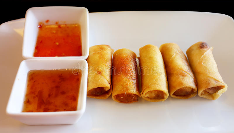 Delicious food spring rolls stock photos