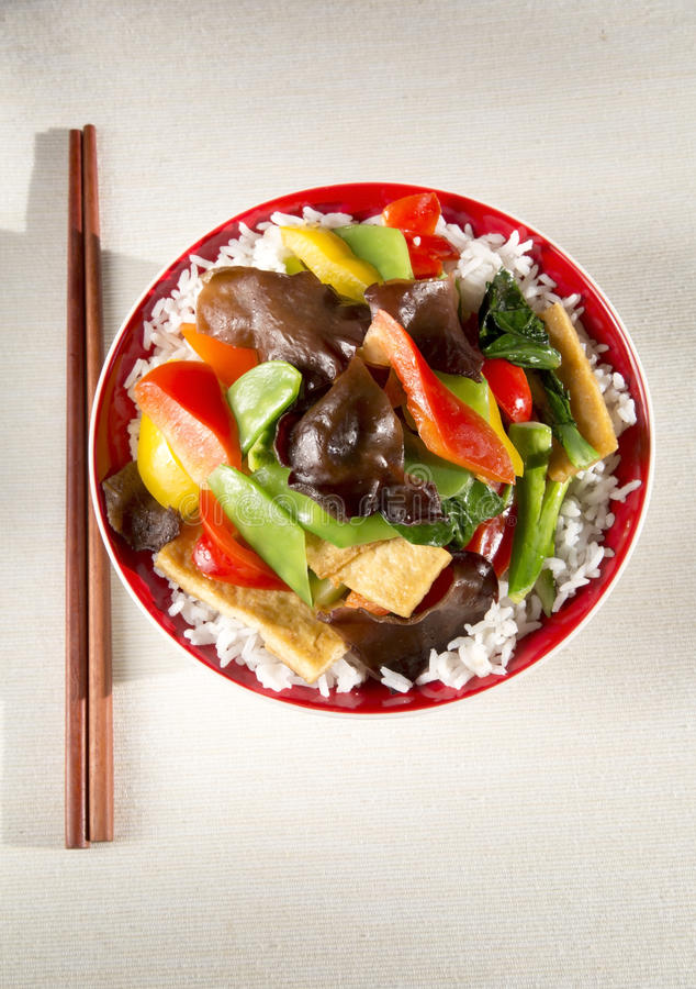 Delicious food. With stir vegetables, tofu, white rice in the bowl royalty free stock photos