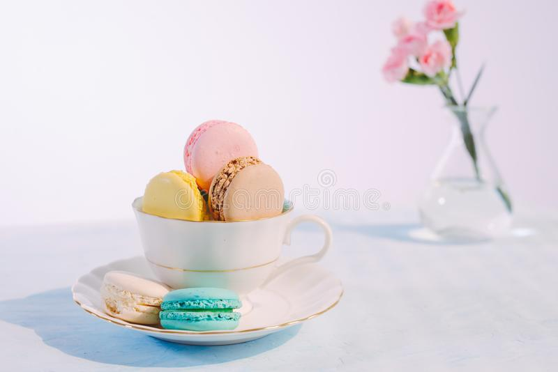 Delicious french dessert. Colorful pastel cake macaron or macaroon stock photos
