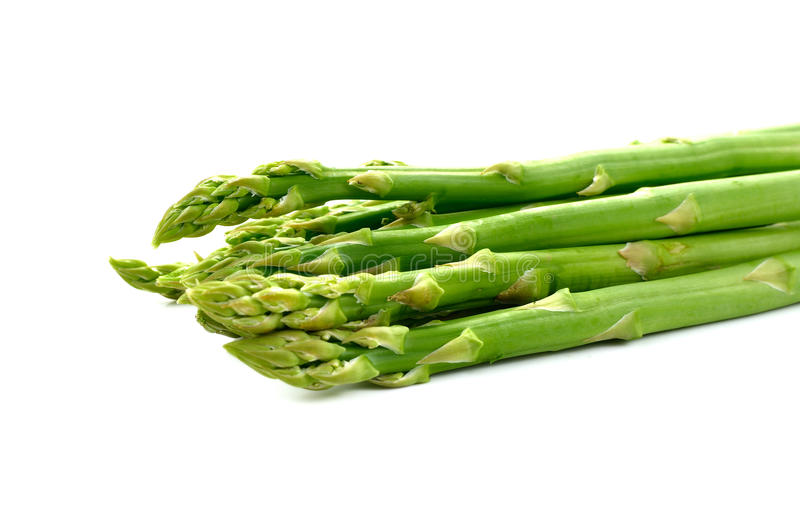 Delicious fresh asparagus isolated on white royalty free stock photos