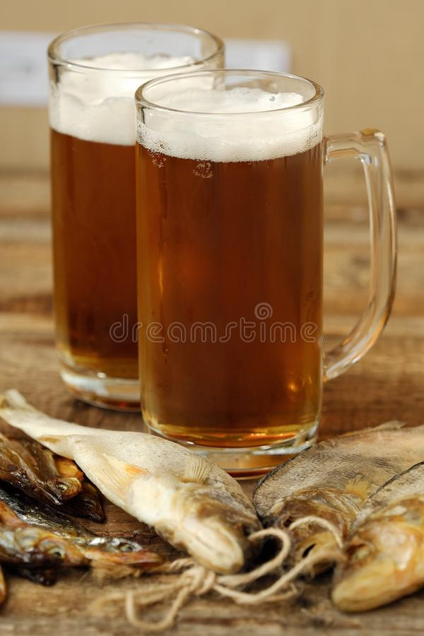 Delicious fresh beer and salted fish royalty free stock photo