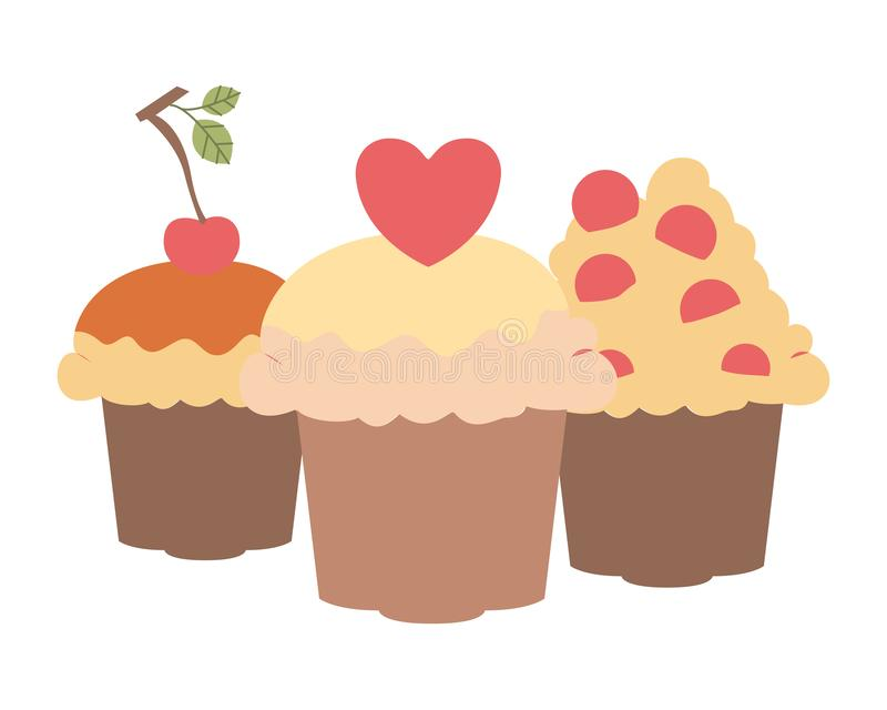 Delicious and fresh cake with cherry. Vector illustration design vector illustration