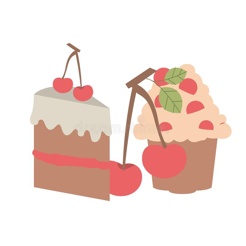 Delicious and fresh cake with cherry. Vector illustration design stock illustration