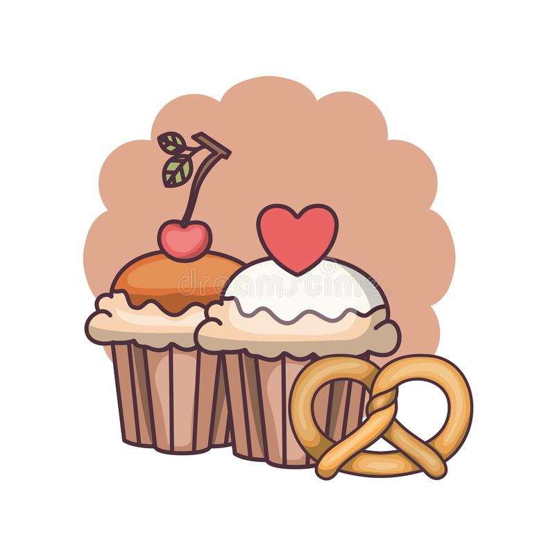 Delicious and fresh cake with cherry. Vector illustration design royalty free illustration