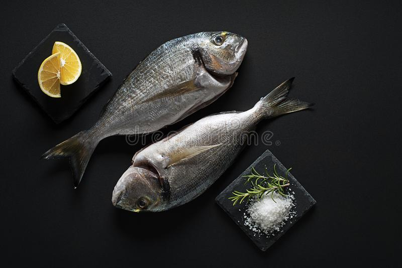 Fish food. Delicious fresh fish gilt-head on dark background. Healthy food diet or cooking concept royalty free stock images