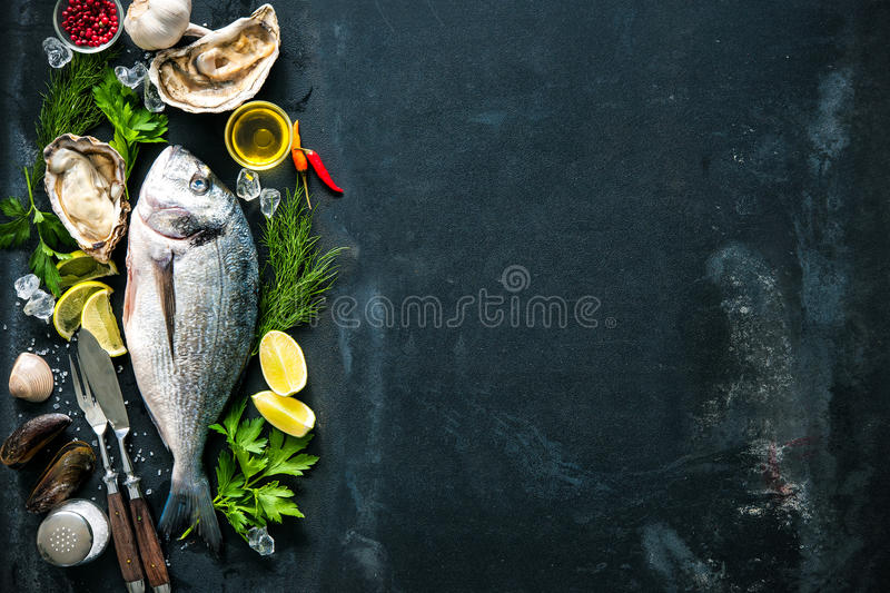 Delicious fresh fish and oysters. With aromatic herbs, spices and vegetables on dark slate plate royalty free stock images