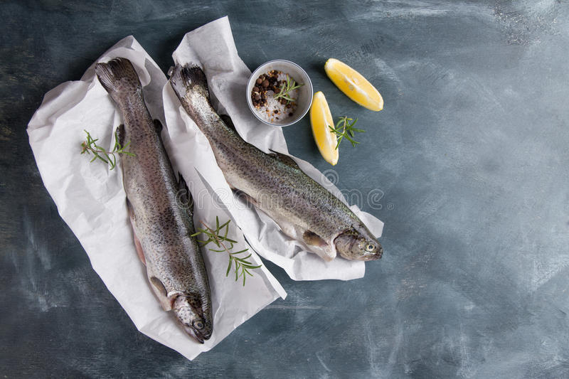 Delicious fresh fish trout. On vintage background for healthy food, diet or cooking concept, selective focus royalty free stock photography