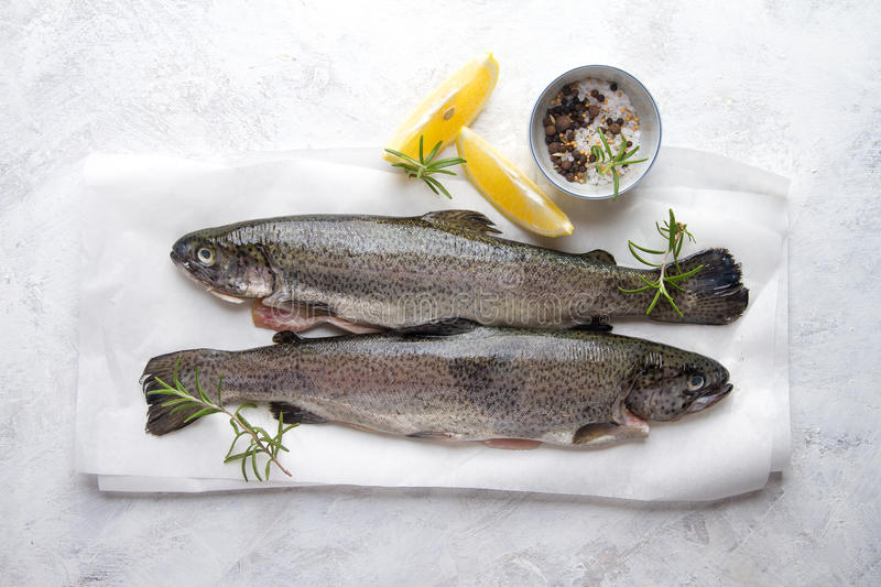 Delicious fresh fish trout. On vintage background for healthy food, diet or cooking concept, selective focus royalty free stock image