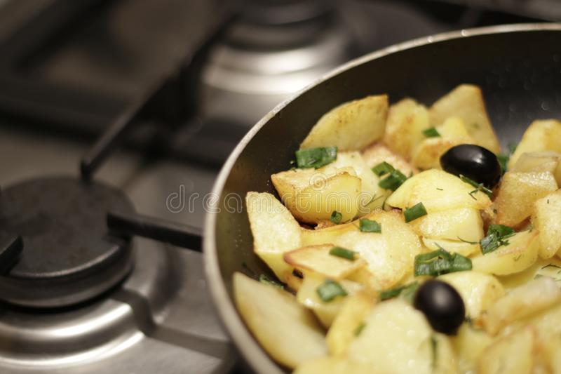 Tasty potato. Delicious fried potatoes royalty free stock images