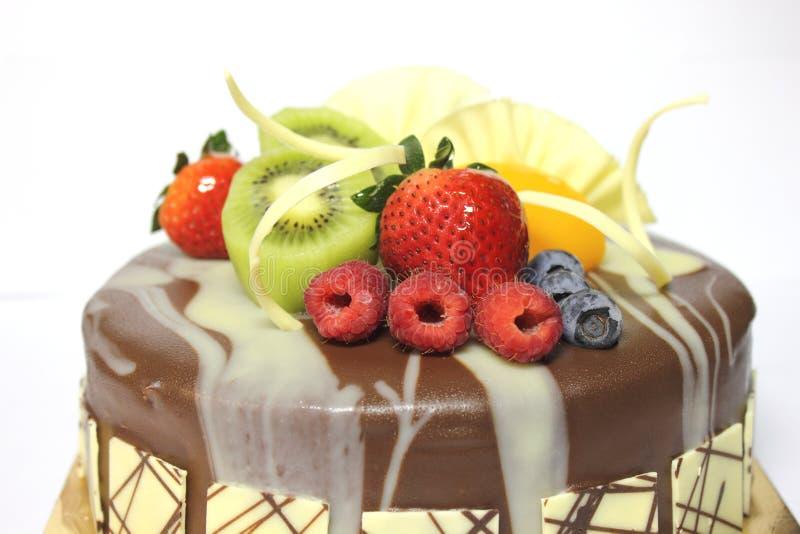 Delicious Fresh Fruit On Chocolete Cake Stock Photo Image 40906924