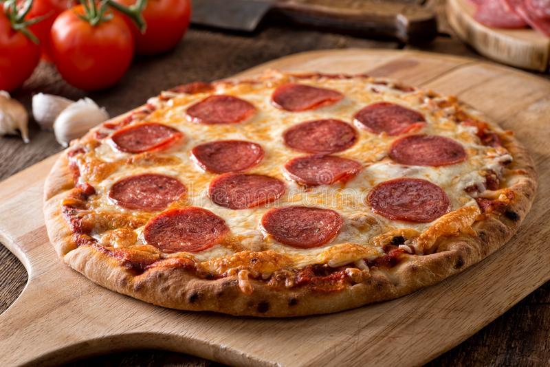 Homemade Pepperoni Pizza royalty free stock photo
