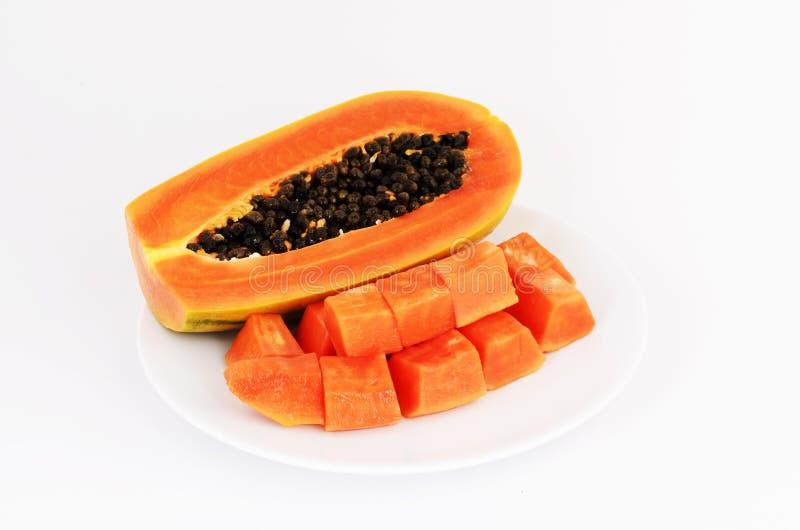 Delicious fresh papaya fruits Isolated on white background royalty free stock images