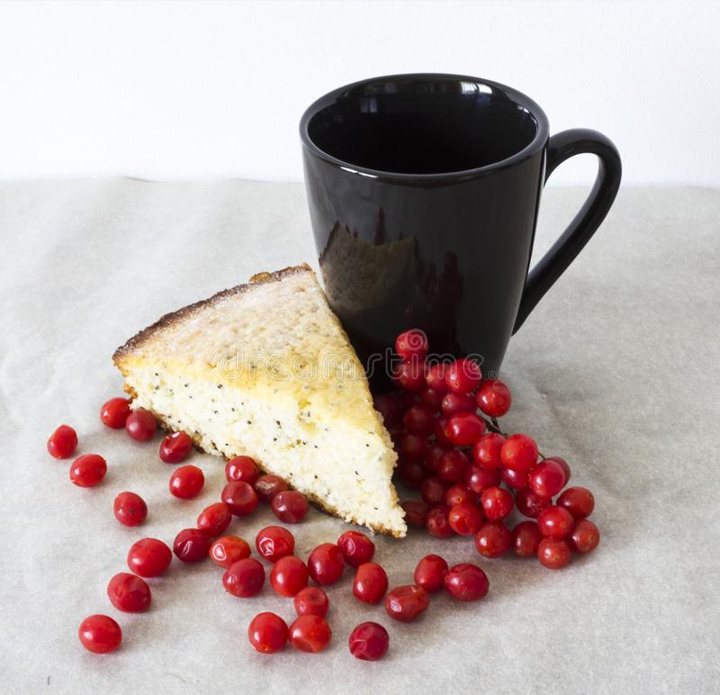 Fresh piece of cake with red juicy berries. Delicious fresh piece of cake with poppy seeds showered with red juicy berries with a black mug for your favorite royalty free stock images