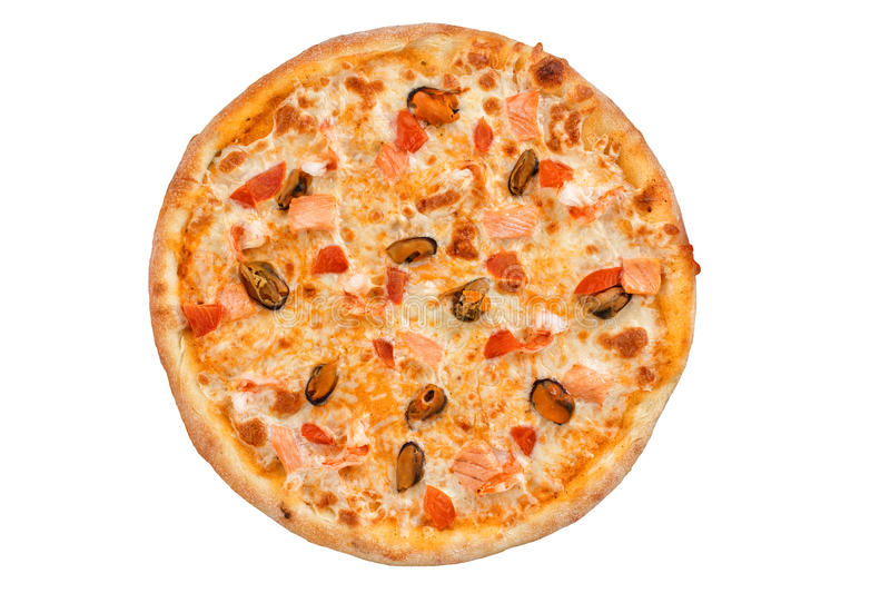 Delicious fresh pizza with seafood top view. stock photos