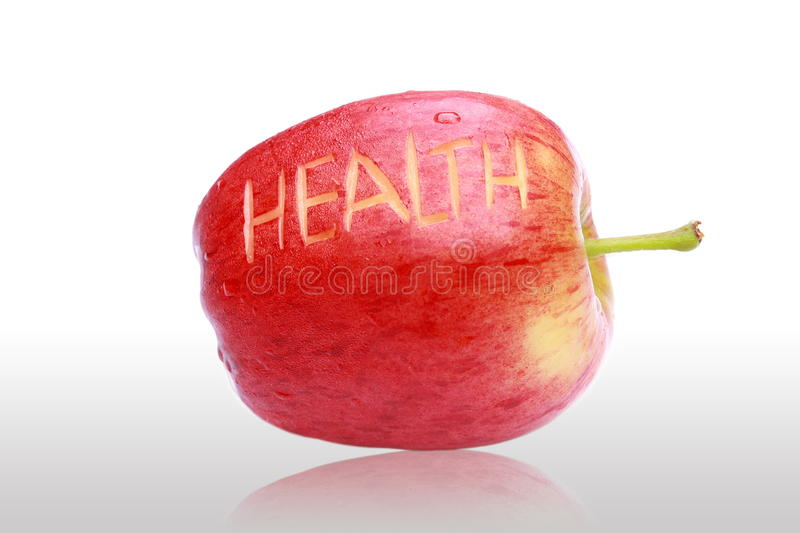 Download Delicious Fresh Red Apple And Health Text. Stock Photo - Image of freshness, shape: 39504164