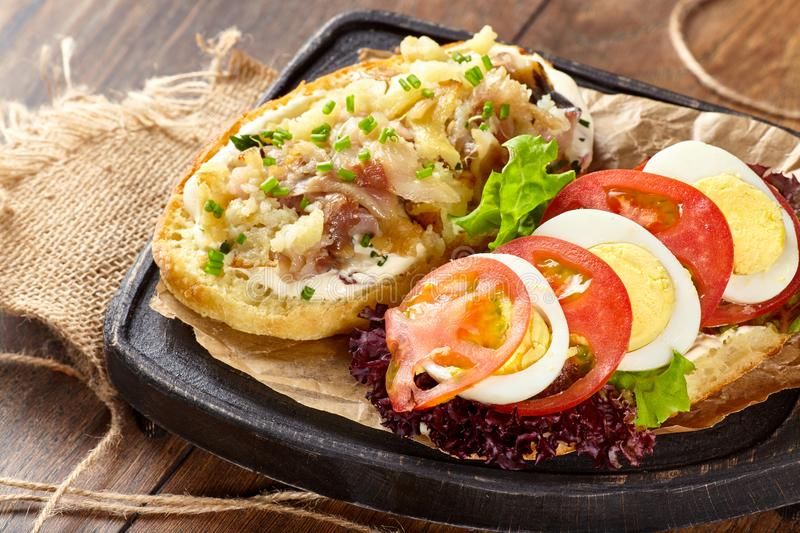 Delicious fresh sandwich with chicken burger, tomato, fried egg. Delicious fresh sandwich with chicken burger, tomato, fried egg, pickles, onions and lettuce stock image