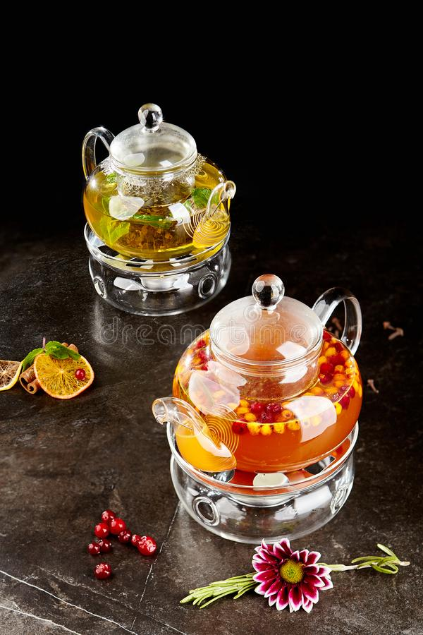 Delicious fresh tea with buckthorn and mint royalty free stock photo