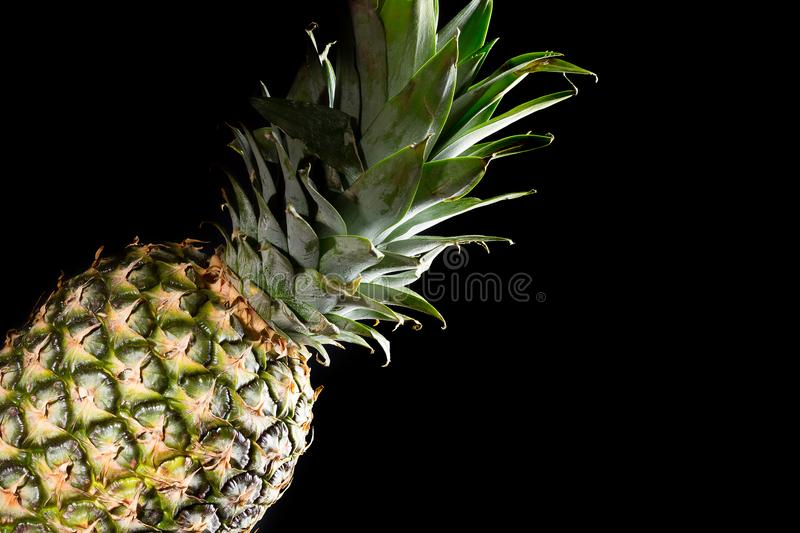 Delicious fresh yellow pineapple tropical fruit on black background.  royalty free stock photography