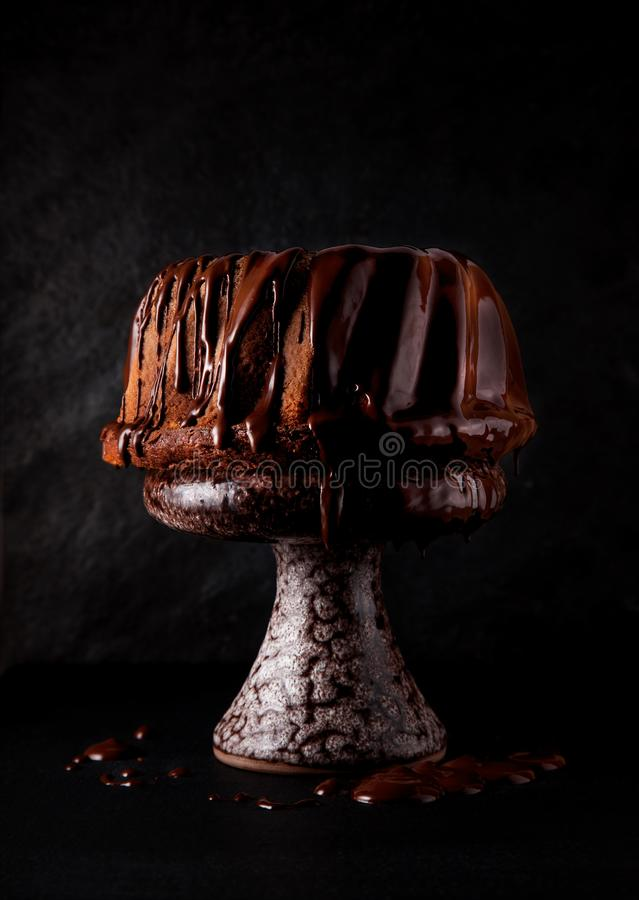 Delicious freshly baked pie with chocolate couverture on slate plate stock photography
