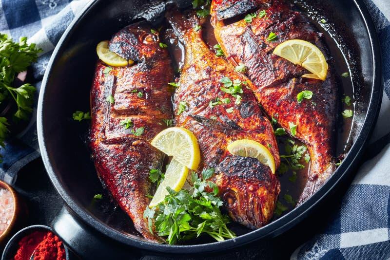 Delicious freshly grilled dorado fish, top view stock photo
