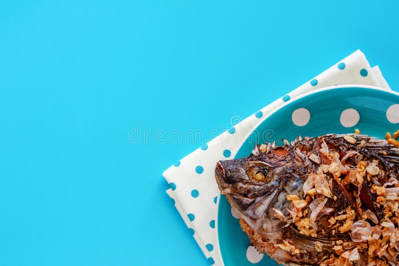 Delicious fried Tilapia fish in polka dot plate on blue background stock image