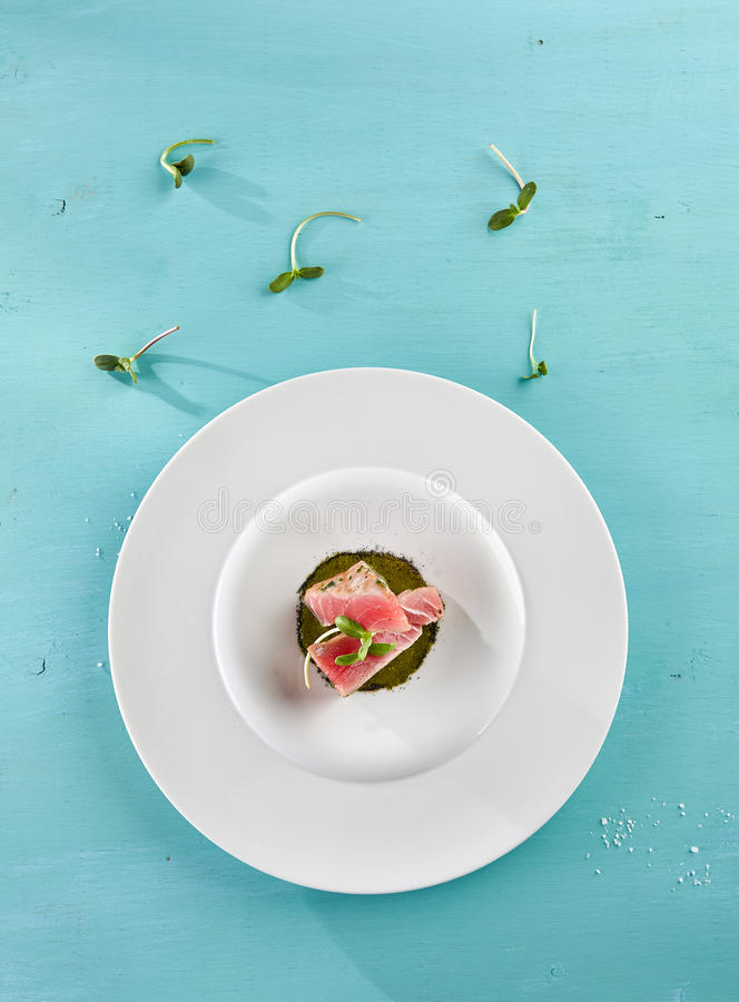 Delicious Fried Tuna Fillet. Restaurant Food - Delicious Fried Tuna Fillet with Sesame outside. Gourmet Restaurant. Delicious Dish stock photos