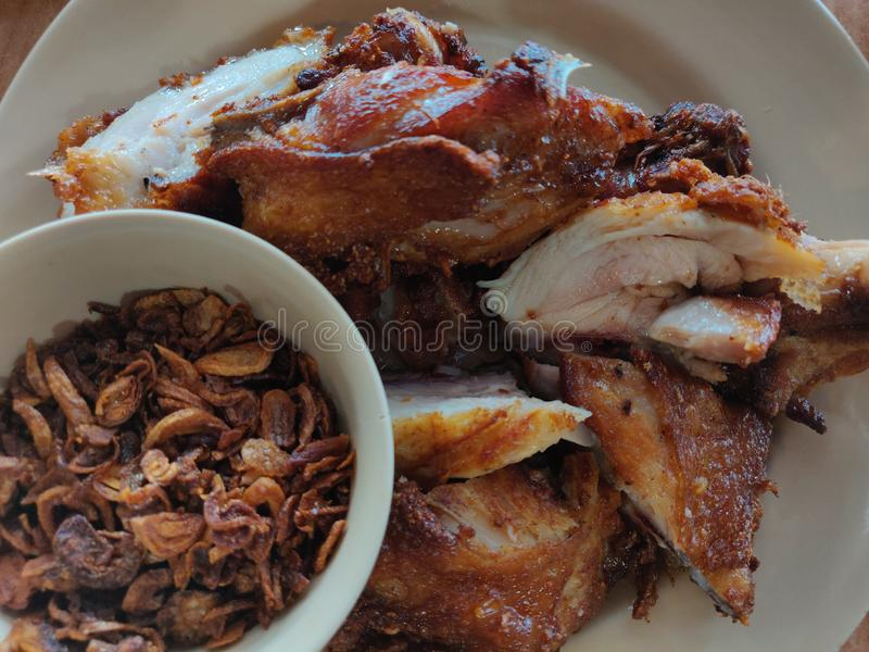 Delicious fries chicken at Hat Yai, Thailand.  royalty free stock photography