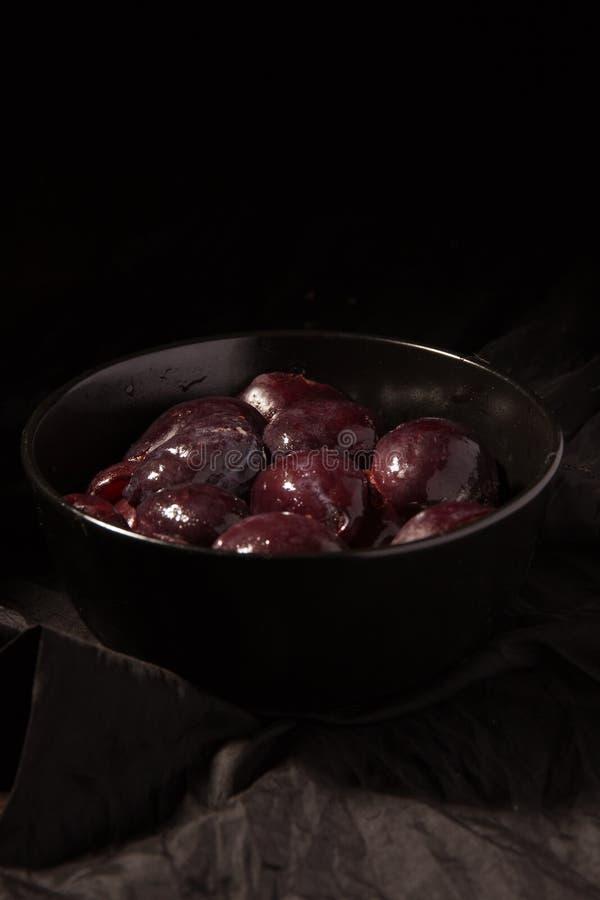 Delicious frozen plum stock images