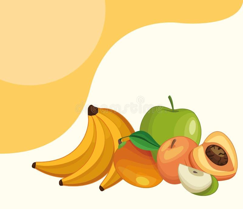 Delicious fruits cartoons vector illustration