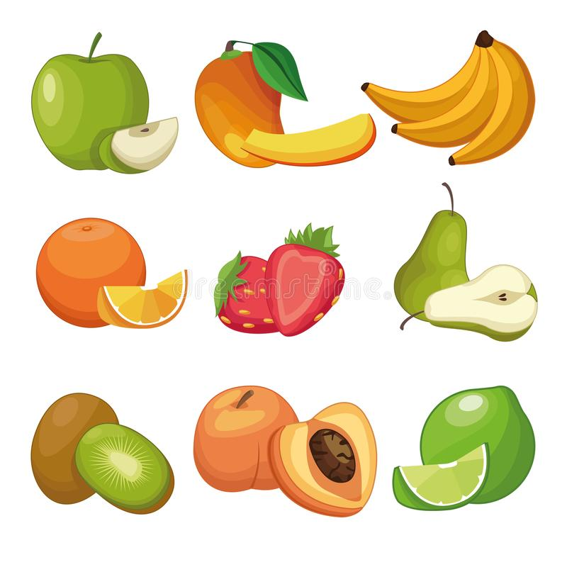Delicious fruits set of cartoons royalty free illustration
