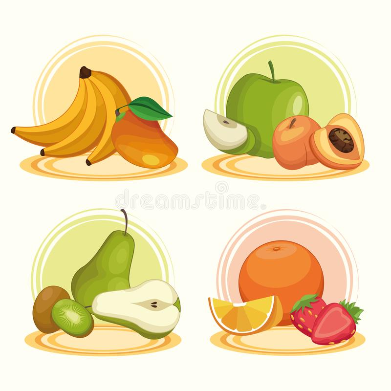 Delicious fruits set of cartoons stock illustration