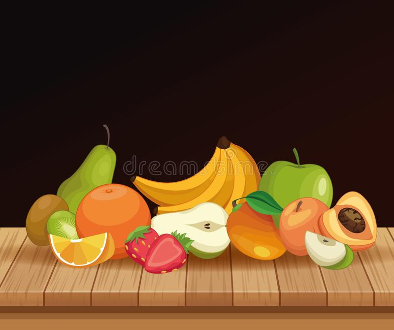 Delicious fruits on table stock illustration
