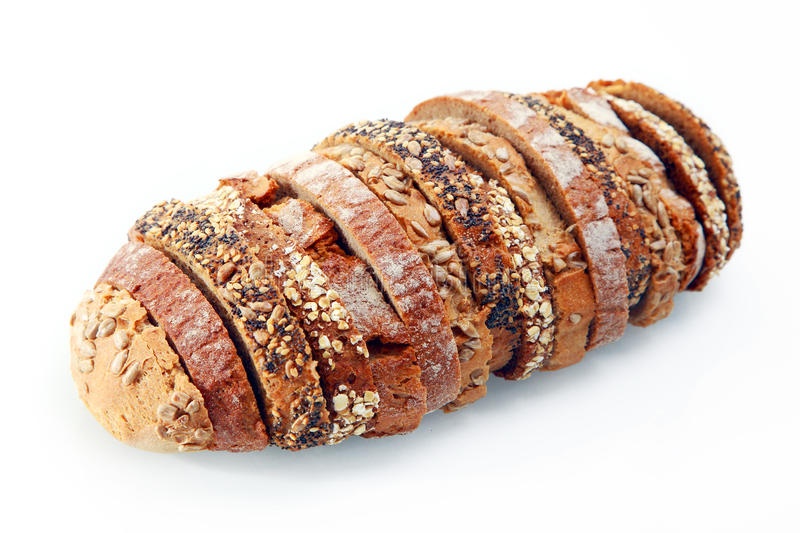 Delicious German Bread Slices with Seeds stock images