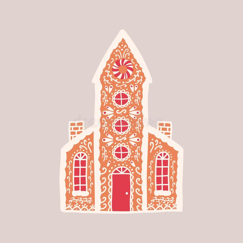 Delicious gingerbread house isolated on light background. Aromatic pastry shaped like living building or church with. Tower and decorated with sugar icing stock illustration