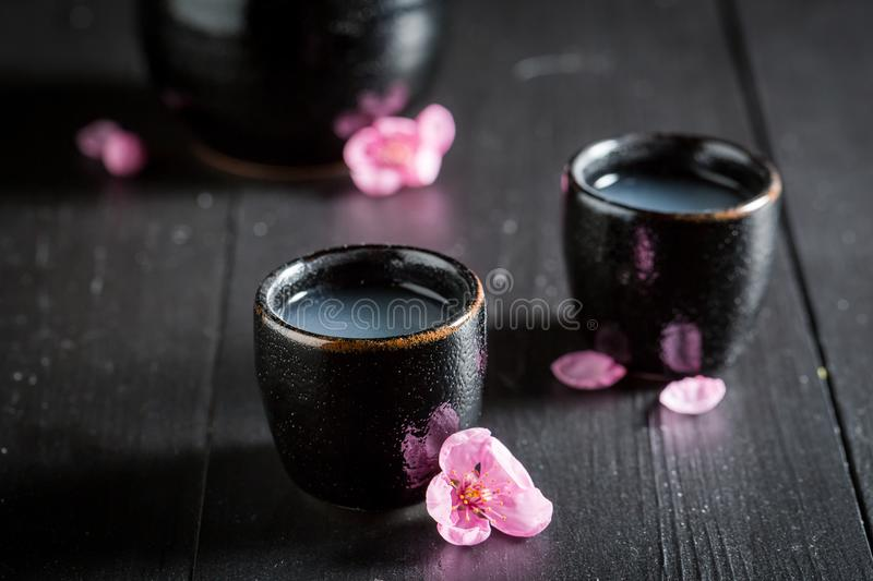 Delicious and good sake with blooming flowers. On dark table stock image