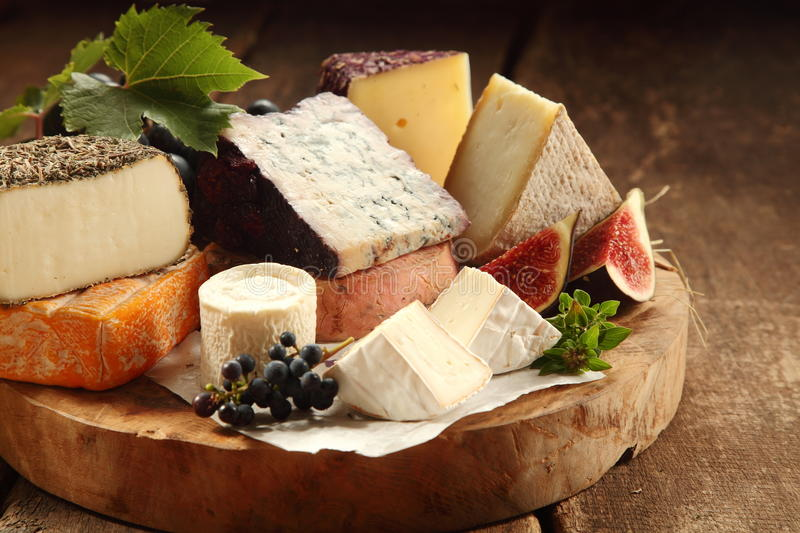 Delicious gourmet cheese platter stock image