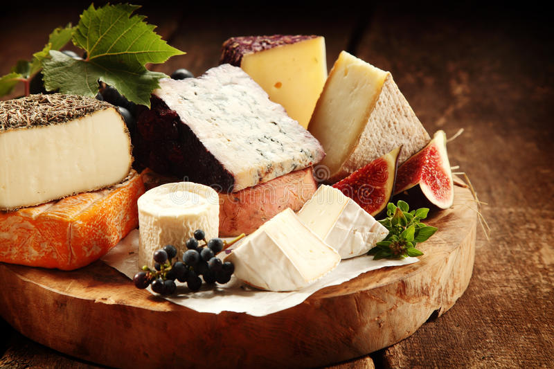 Delicious gourmet cheese platter royalty free stock images