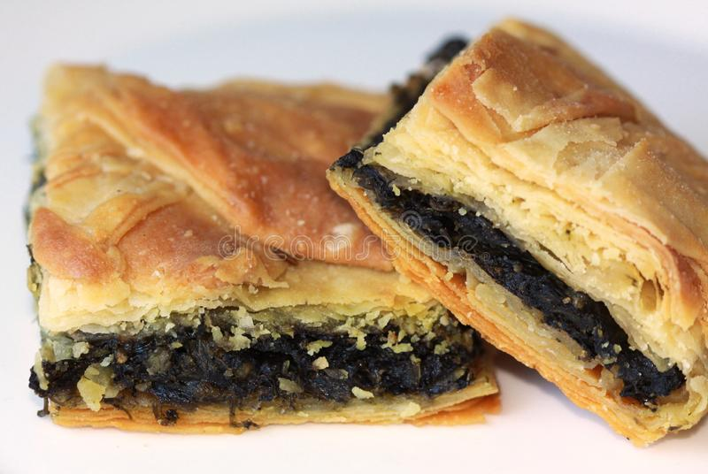 Delicious greek spinach pie royalty free stock photo