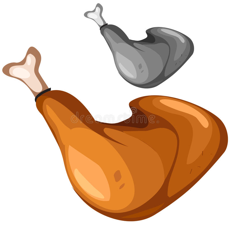 Delicious grilled chicken leg, closeup food. Delicious grilled chicken leg closeup, vector food vector illustration